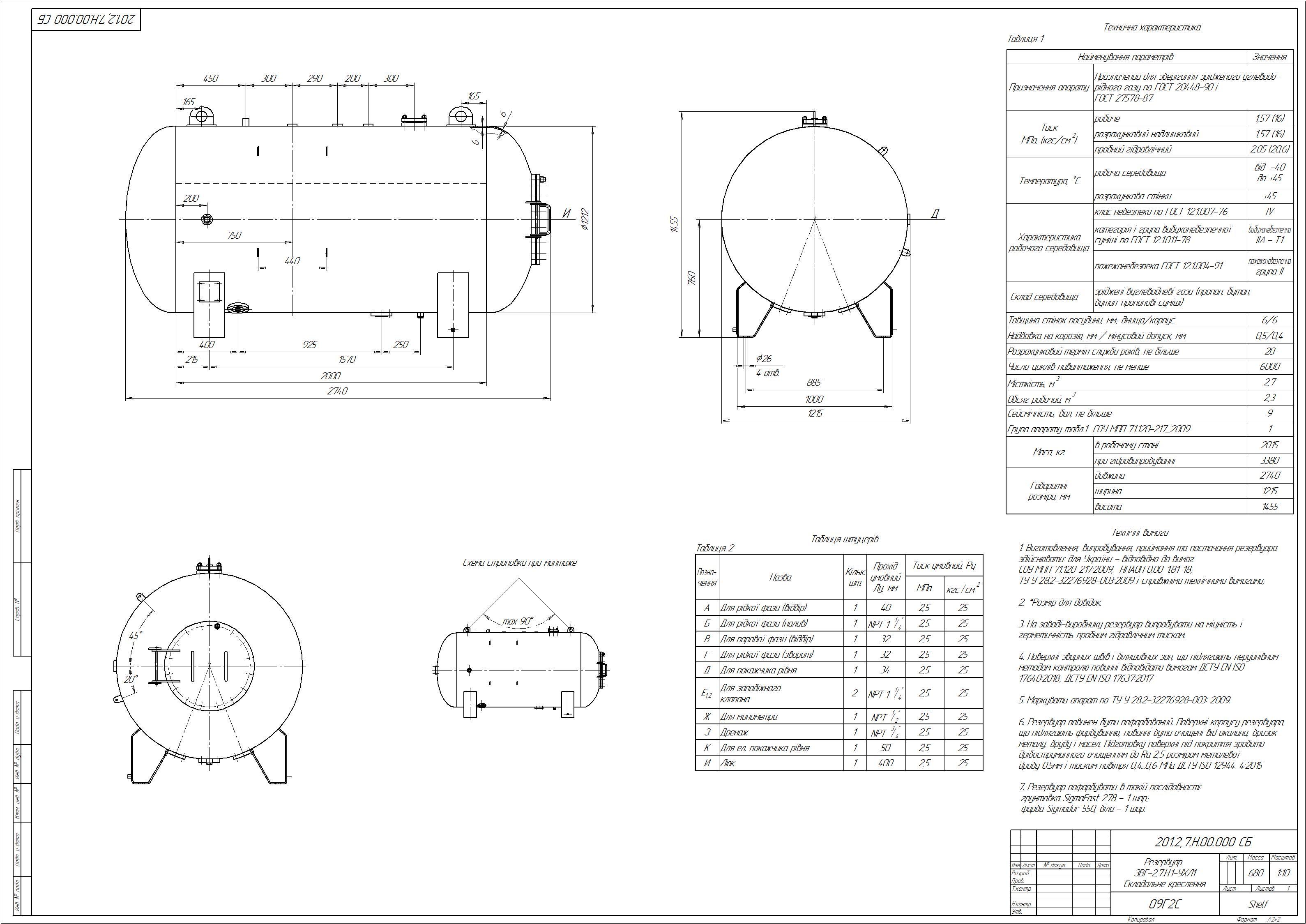 Схема резервуару наземного №1