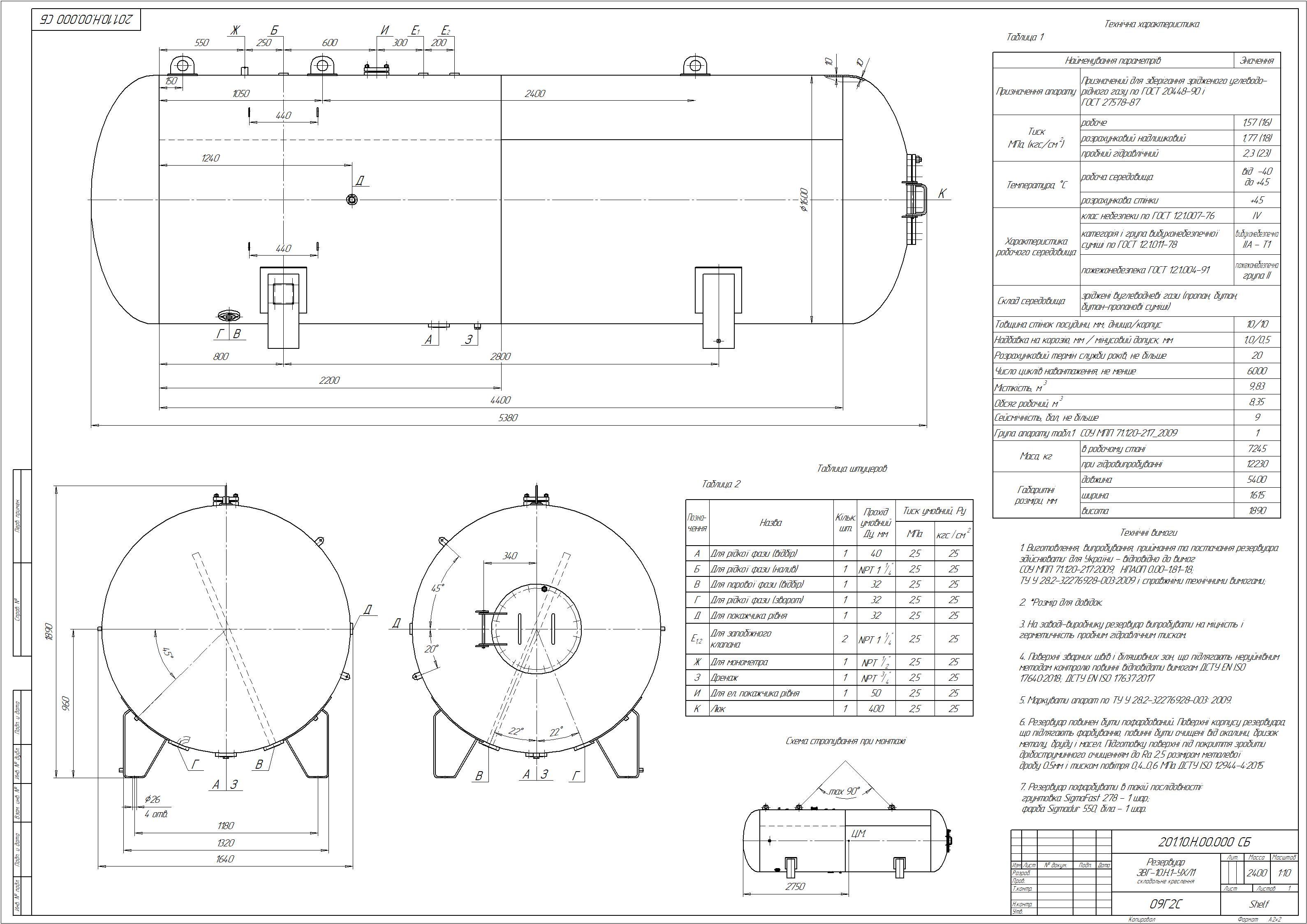 Схема резервуару наземного №9