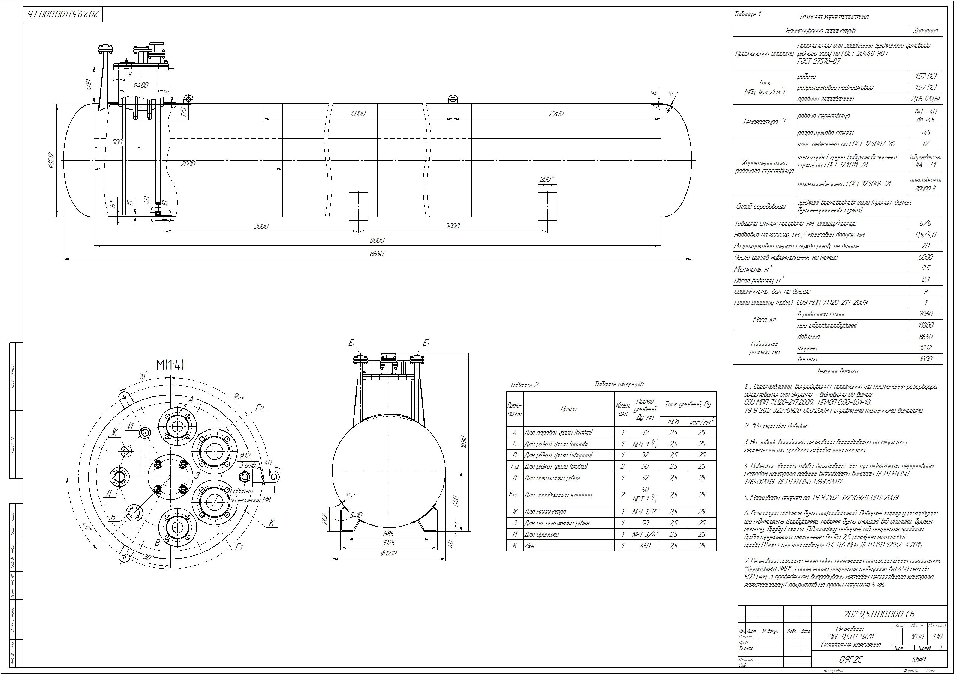 Схема резервуару підземного №5