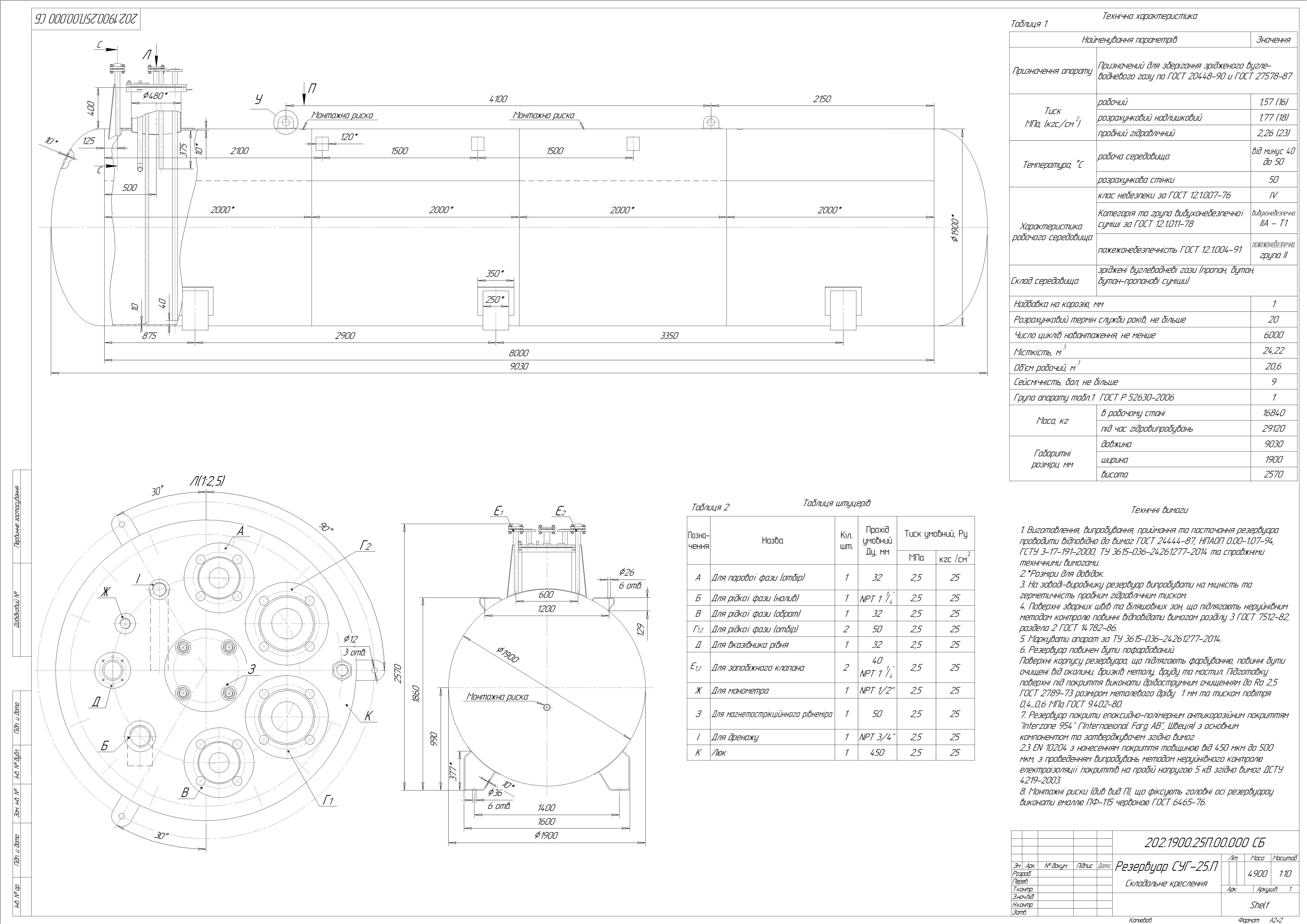 Схема резервуару підземного №12