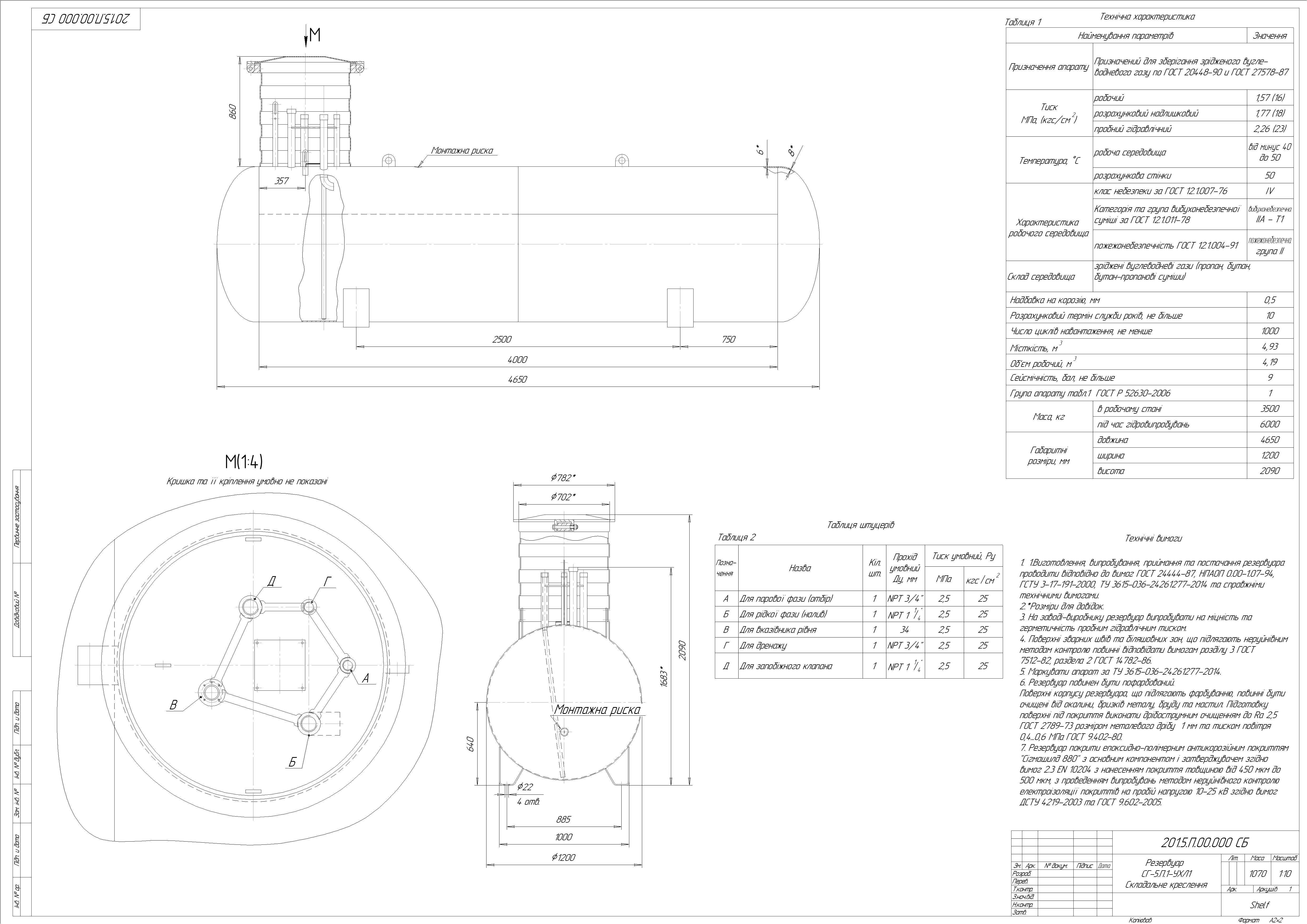 Схема резервуару підземного №1
